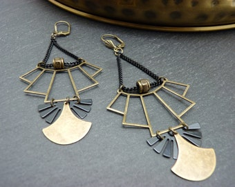 Bronze and black art deco gold and gold art deco earrings / clips option