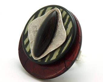Grosse Bague ethnique bordeaux noir argent métal corne NERVURE réglable ajustable