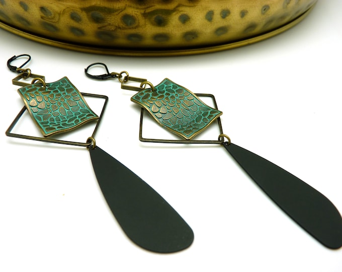 Featured listing image: Long earrings patina blue green of oxidized gray bronze black graphic patinAX option clips