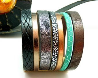 Bracelet manchette cuir magnétique aimanté bronze noir turquoise, gris,argent, cuivré, large 5 cm CREPTPARTY Best seller
