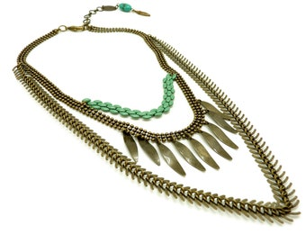 Bronze and turquoise metal breastplate necklace and ashbal 3-row stone back jewel