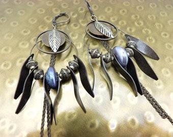 Boucles d'oreilles créoles métal bronze et perle d'eau douce mauve CREOBOBO option clips