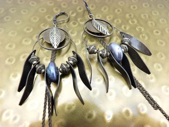 Creole bronze metal earrings and purple freshwater pearl CREOBOBO option clips