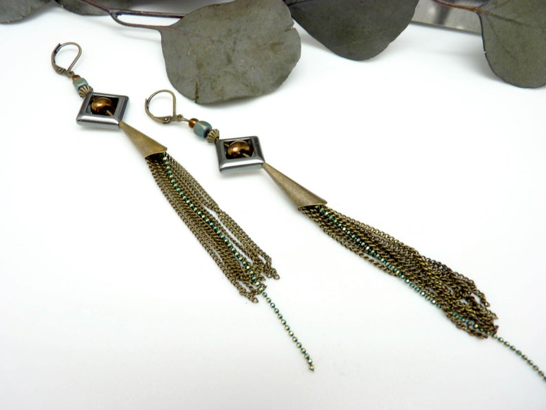 Boucles d/'oreilles longues pierre h\u00e9matite gris et vert multi-cha\u00eenes m\u00e9tal  bronze verre cuivr\u00e9 GRETA option Clips