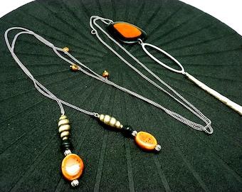 Collier long graphique sautoir orange, noir et argent métal céramique bois résine nacre LASSO Best seller