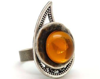 Bague argent longue métal et verre orange CACHEMIR réglable ajustable Best seller