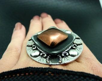 Bague argent noir et cuivre en métal et verre MEDIEVAL réglable ajustable