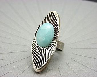 Bague longue argent pierre amazonite bleu clair, style art déco OSMOSE AMAZONITE réglable ajustable