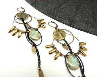 Boucles d'oreilles créoles bronze turquoise en métal et en verre  MIMI BOHEME  option Clips Best seller