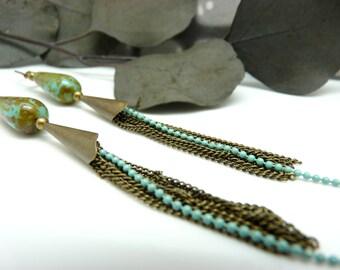 Boucles d'oreilles longues multi-chaînes bronze verre turquoise LOUCIYA option Clips