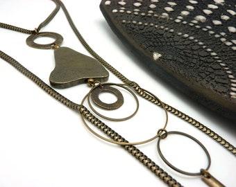 Long collier sautoir lasso métal bronze grosse pierre pyrite chic bohème PYRITE Best seller
