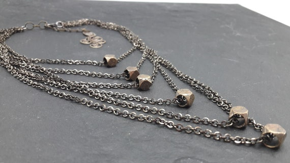 long necklace chic bohemian  Chic collection  PYRITE  KUMKA Long necklace big stone lasso metal bronze brass necklace pyrite