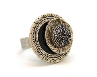 Petite Bague argent vieilli en métal résine métallisée et noire chic ethnique LEA réglable ajustable Best seller