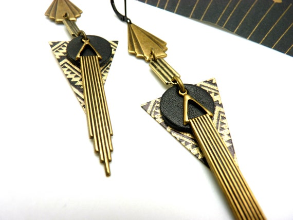 Long metal art deco earrings and bronze and black leather EMPAYEUR option clips Best seller