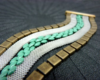Bracelet manchette métal bronze argent et turquoise magnétique aimanté large 4 cm  GATAKA