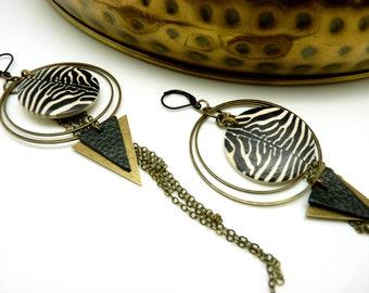 Créoles ethniques bois zèbre bronze métal cuir noir ANIMOL ZEBRE option clips