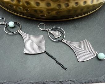 Boucles d'oreilles argent asymétriques pierre amazonite bleu doux ethnique ALMERINDA option clips