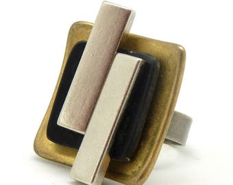 Black matte gold square ring and silver horn and chic metal and graphic AXXE Best Seller! adjustable adjustable