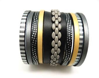 Bracelet manchette cuir et chaîne noir gris jauneargent fermoir magnétique, aimanté large 6 cm, ethnique et graphique  YEL