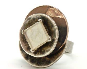 Bague chic argent GLAçON marron métallisé par Kumka réglable ajustable