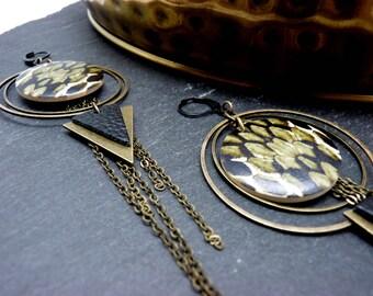 Créoles Boucles d'oreilles longues ethnique bronze en métal bois impression reptile kaki cuir noir ANIMOL option clips