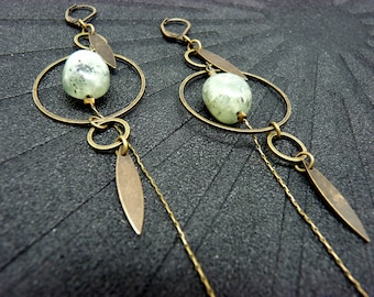 Earrings stone metal bronze graphic style PREHNITE option Clips Best seller