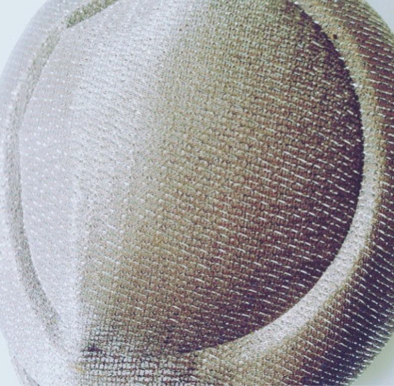 40s 50s Cloche Style Vintage Hat Pale Brown with Iridescent Glitter Thread and Pearl Details