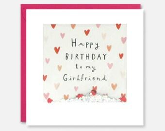 Girlfriend Hearts Birthday Shakies Card By James Ellis