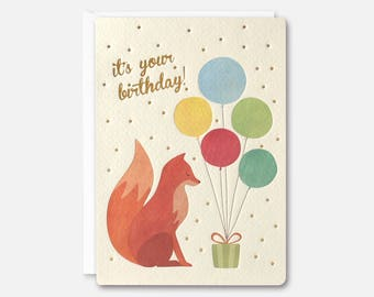 fox and balloons birthday card by james ellis - Birthday Card Art