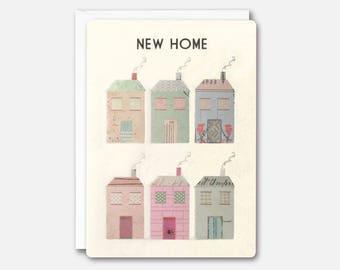 Houses New Home Retro Press Card by James Ellis