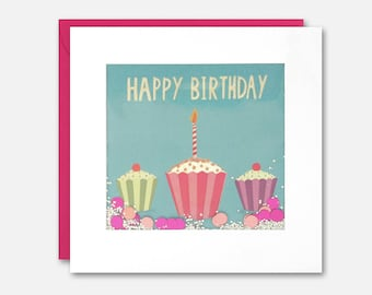Three Cupcakes Birthday Shakies Card by James Ellis