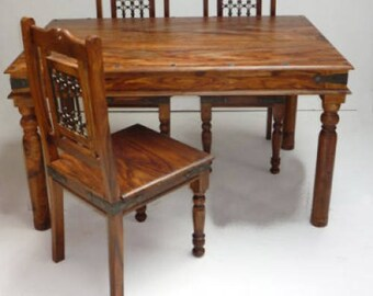 Indian Jali 135cm Dining Table & 4 Chairs