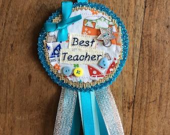 Best Teacher Rosette gift bespoke personalised