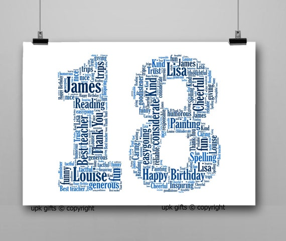 Personalised Gift Printable Word Art Age 18th Birthday | Etsy