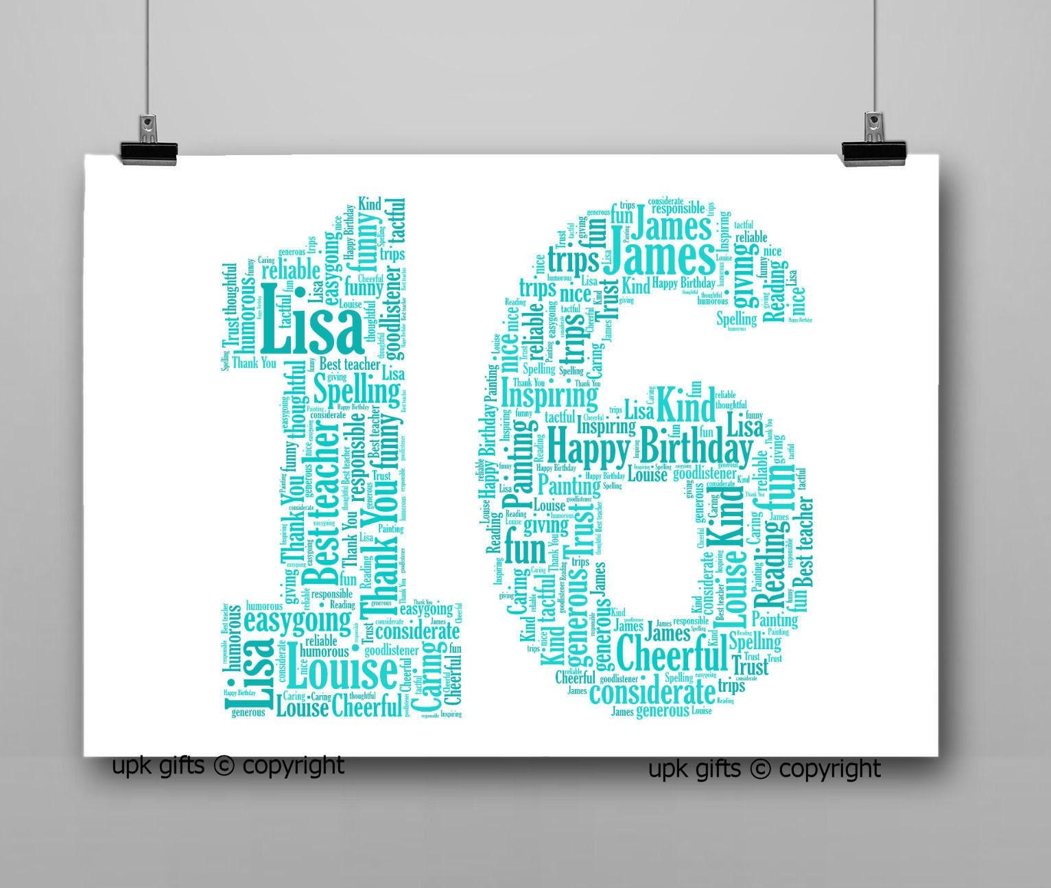 Personalised Gift Printable Word Art Age 16th Birthday | Etsy