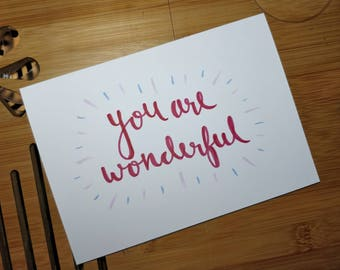 You Are Wonderful Greetings Card