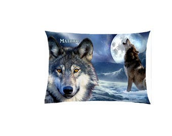 satin Wolf pillow, fully customizable ref 586