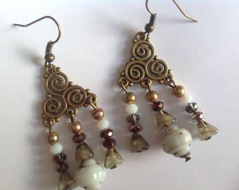 Earrings retro vintage beads art deco white aged, ethnic bronze metal connectors