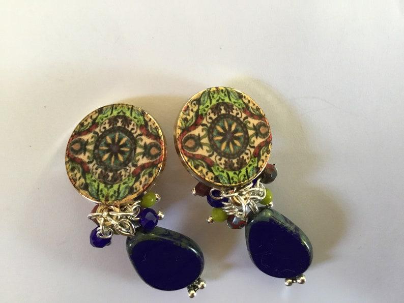 blue boho Czech glass beads green shaped rosette Clip earrings Burgundy and beige Golden clips navy retro vintage