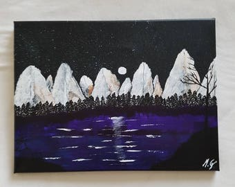 Stars, acrylic painting on canvas. Beautiful stars on a clear night.