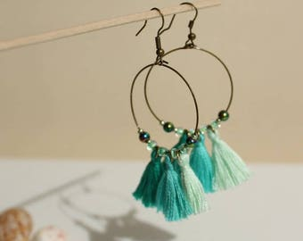 Ears ELORA green tassel earrings