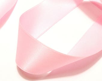 Pink satin ribbon pale 25 mm - sold by 50 cm double-sided pastel fine quality