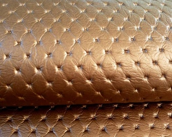 Faux leather copper leather coupon quilted look very beautiful effect for your creations 40 x 40 cm