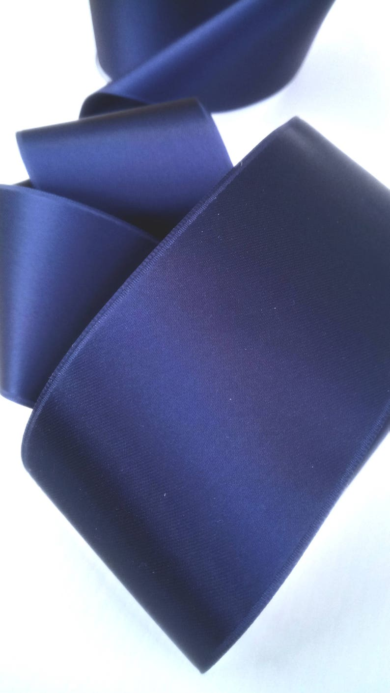 50 mm wide steel blue satin ribbon sold by 100 cm