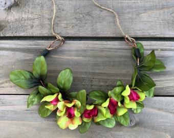 Full spring wreath - hot pink - foilage crown - flower crown - floral - springtime - colors