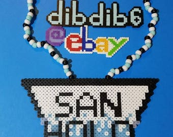 San Holo kandi perler necklace rave EDC PLUR festival hama