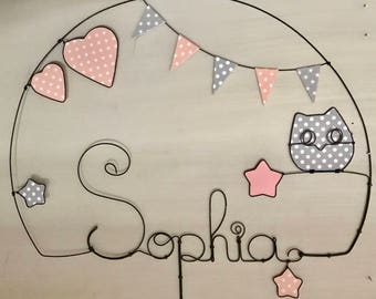 Wire name personalized wall decor for child's room