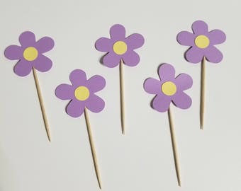 Purple Flowers Cupcake Toppers- You Choose colors