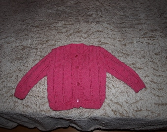 HAND KNITTED VEST RASPBERRY SIZE 12 MONTHS