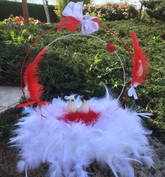 Red And White Wedding Centerpiece Couple Of Doves White And Etsy
